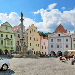 The Old Town Square of Český Krumlov - panoramic photo