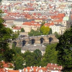 The Charles bridge from above